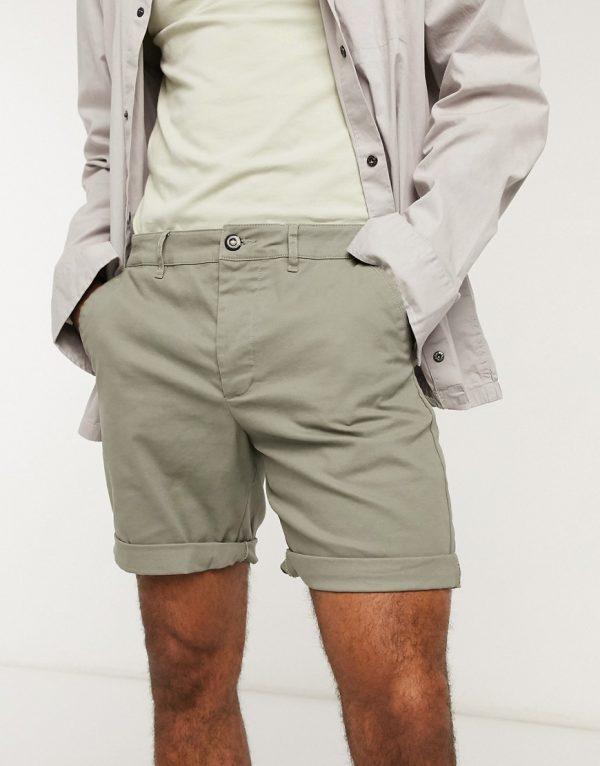 ASOS DESIGN slim chino shorts in khaki-Green