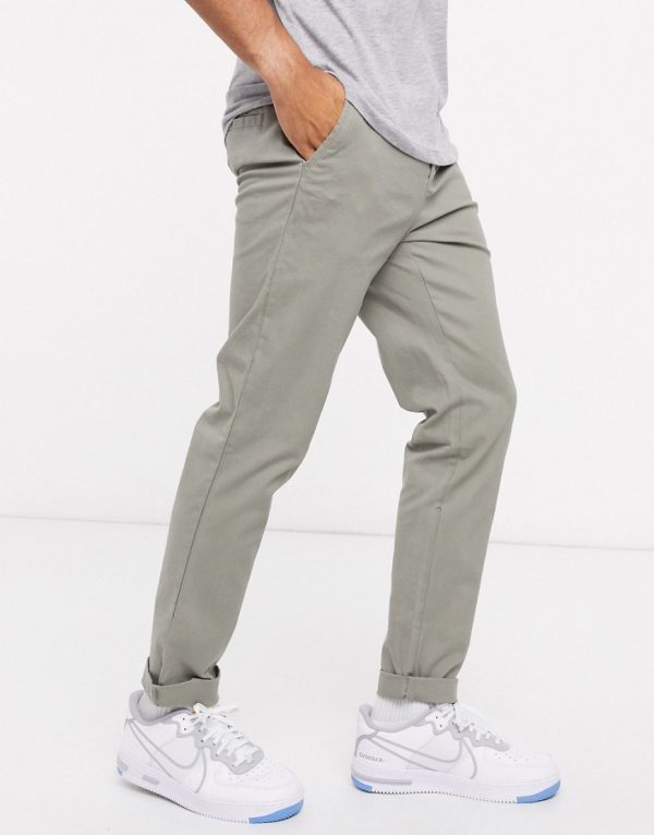 ASOS DESIGN slim chinos in khaki-Green