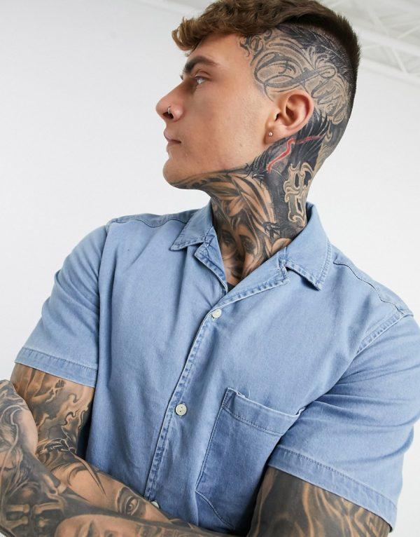 ASOS DESIGN slim fit organic denim shirt in bleach wash-Blue