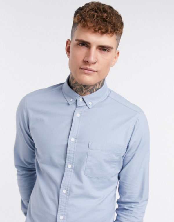 ASOS DESIGN slim fit organic oxford shirt in dusty blue