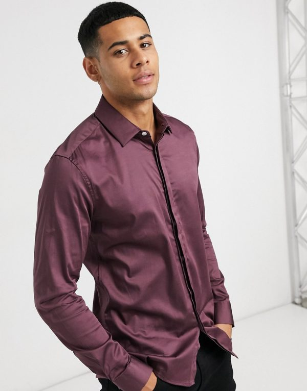 ASOS DESIGN slim fit sateen shirt in berry-Red