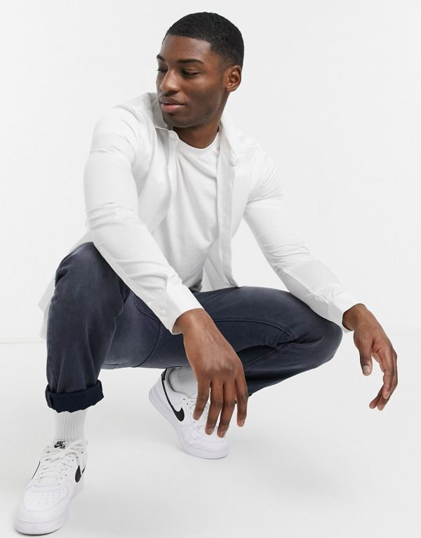 ASOS DESIGN slim fit sateen shirt in white