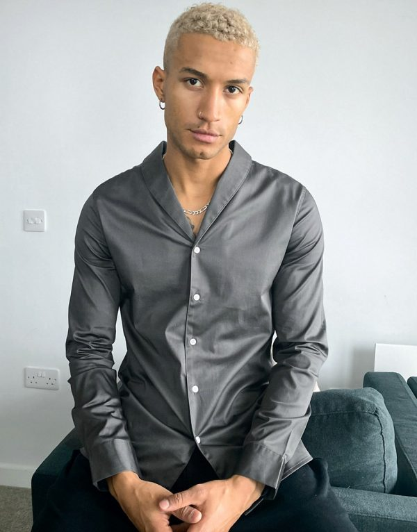 ASOS DESIGN slim fit sateen shirt with shawl collar in charcoal gray-Grey