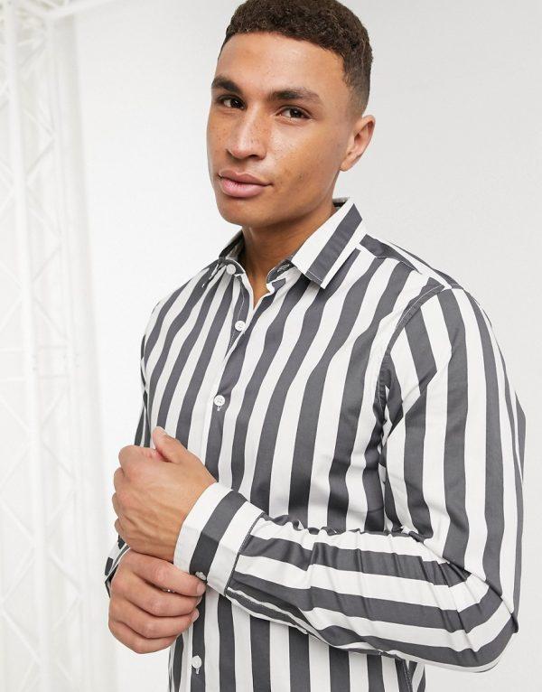 ASOS DESIGN slim fit stripe shirt in gray-Grey