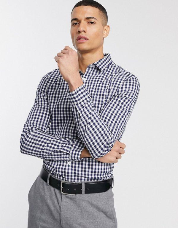 ASOS DESIGN slim fit work check shirt in blue-Blues