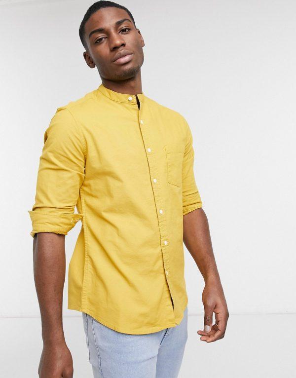 ASOS DESIGN slim fit yarn dye organic oxford grandad shirt in mustard-Yellow