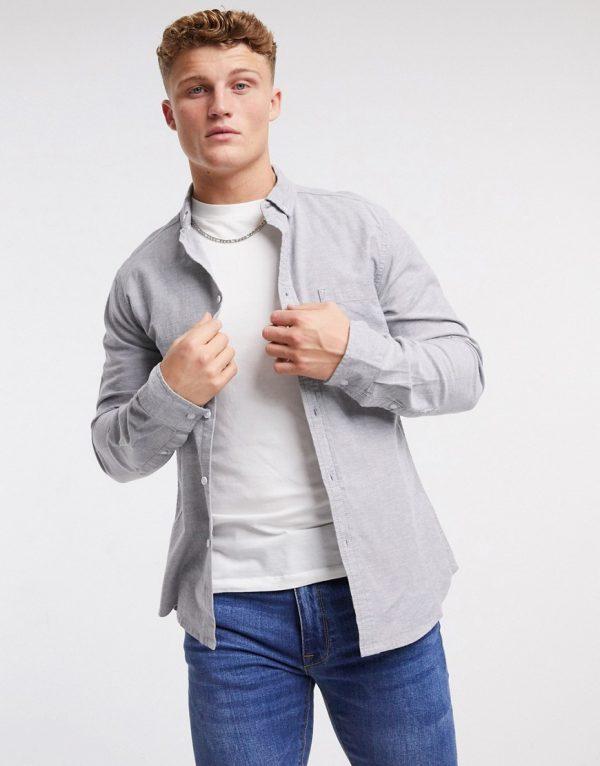 ASOS DESIGN slim fit yarn dye organic oxford shirt in charcoal-Grey