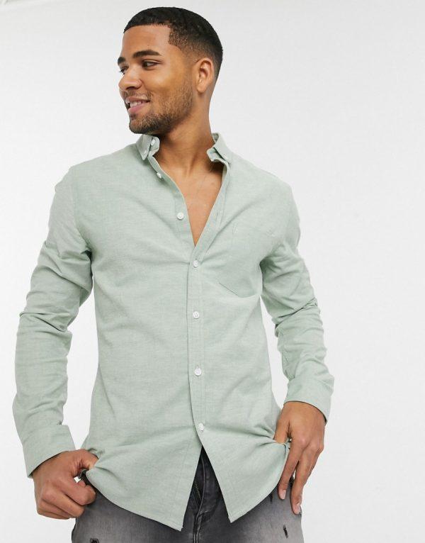 ASOS DESIGN slim fit yarn dye organic oxford shirt in pine green