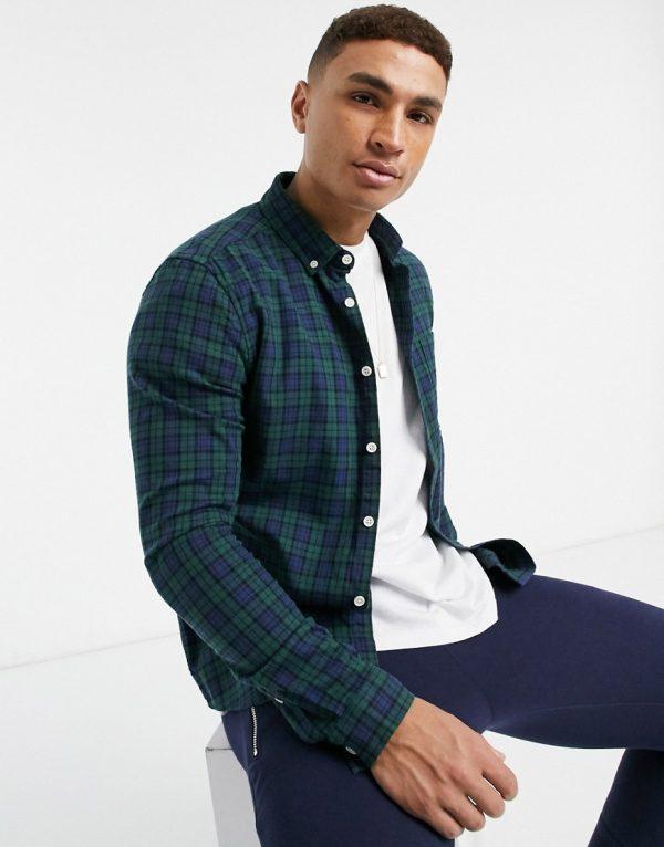 ASOS DESIGN slim plaid shirt in green