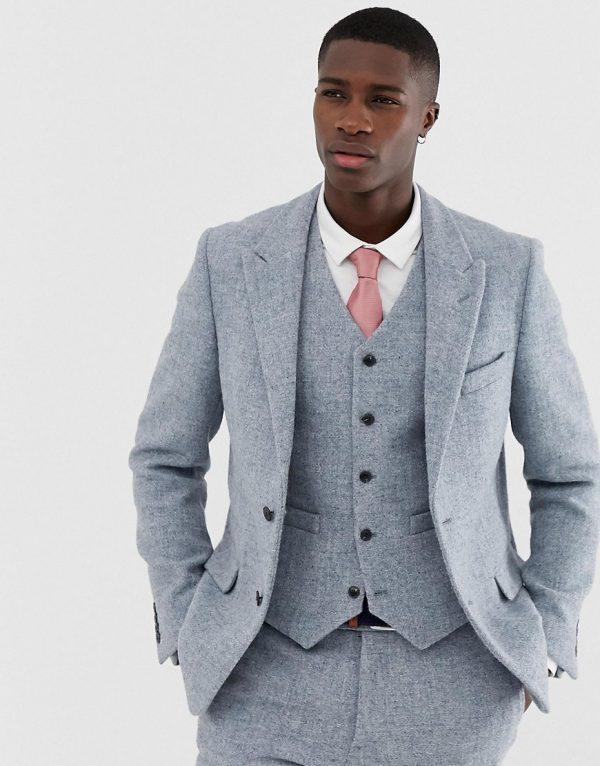 ASOS DESIGN slim suit jacket in 100% wool Harris Tweed in gray-Grey