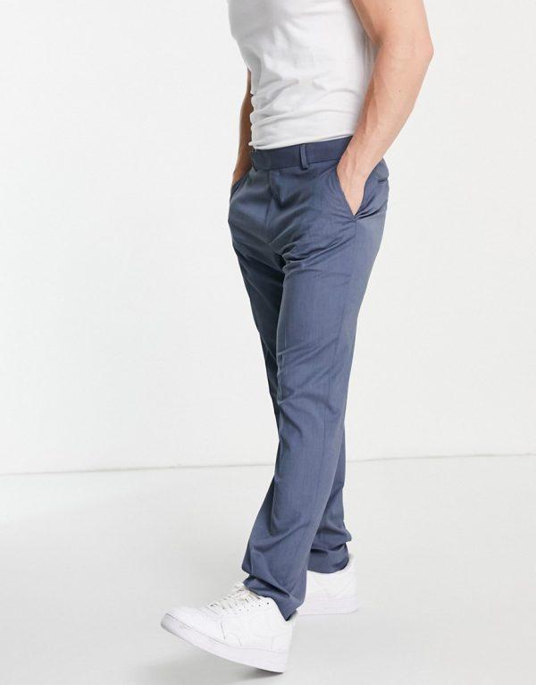 ASOS DESIGN slim suit pants in blue-Blues