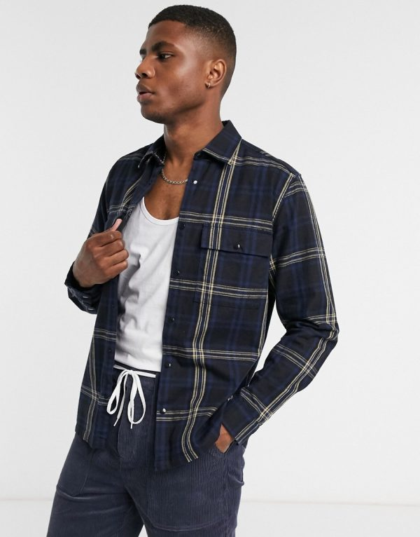 ASOS DESIGN smart overshirt in navy and black check with straight hem