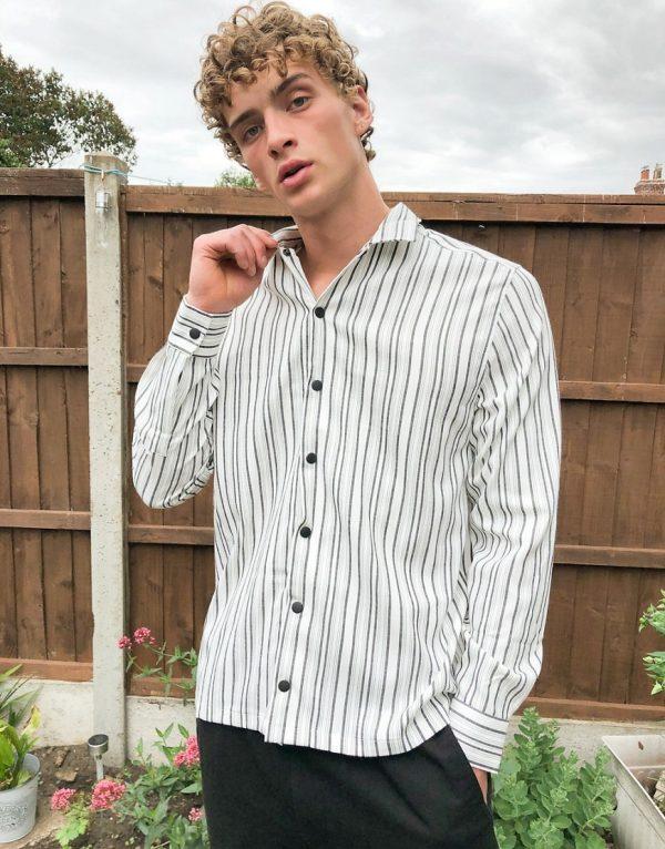 ASOS DESIGN smart overshirt in white with black stripe
