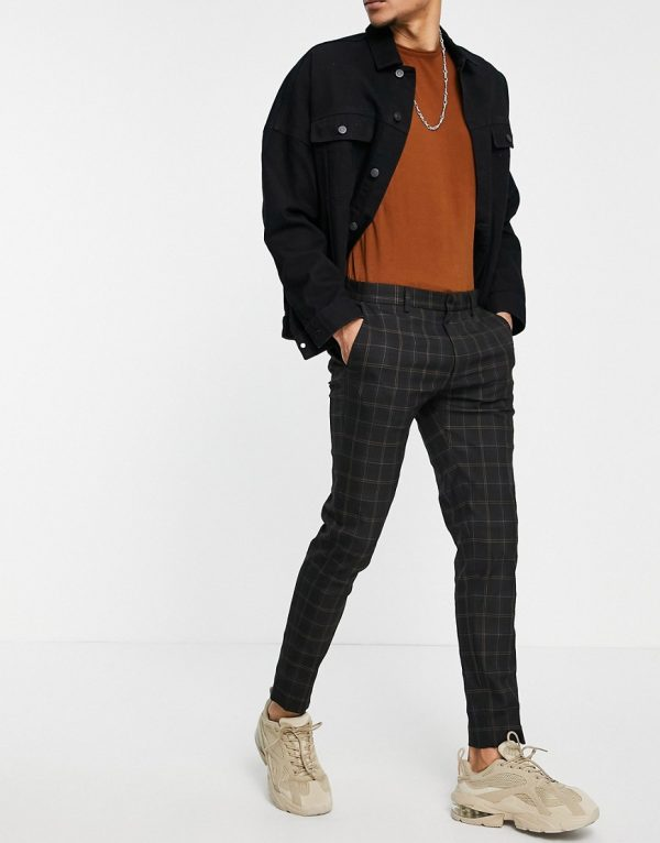 ASOS DESIGN smart super skinny pants in black check