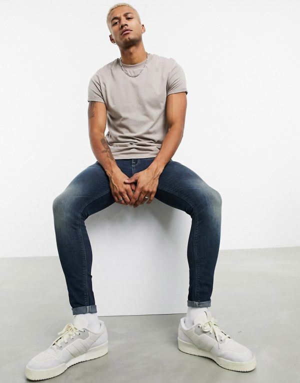 ASOS DESIGN spray on jeans in power stretch denim in tint-Blues