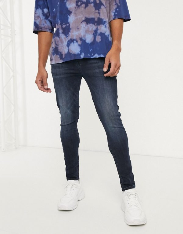 ASOS DESIGN spray on jeans in power stretch in blue black