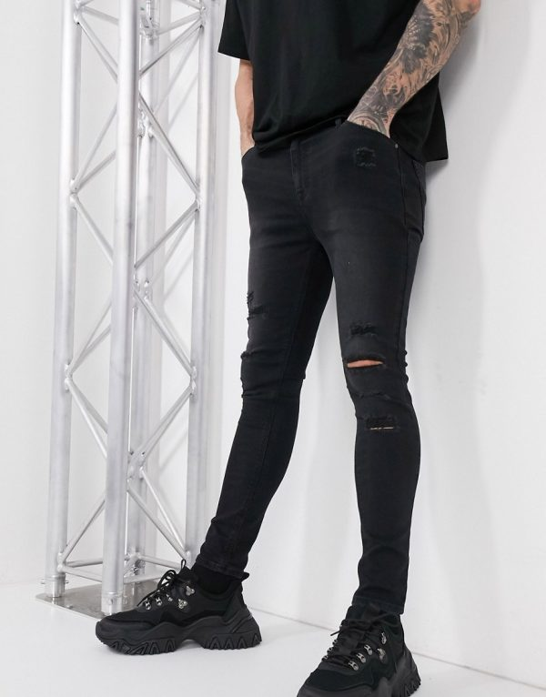 ASOS DESIGN spray on jeans in power stretch with heavy rips in washed black