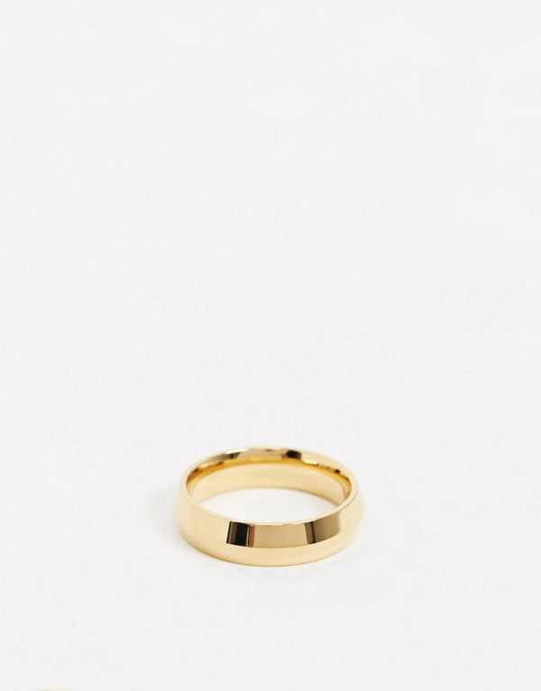 ASOS DESIGN stainless steel band ring with angle design in gold tone