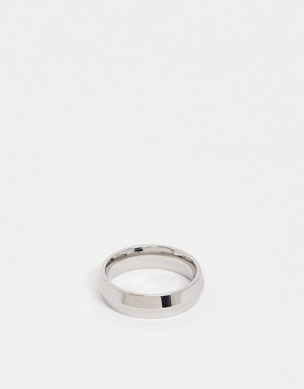 ASOS DESIGN stainless steel band ring with angled design in silver tone