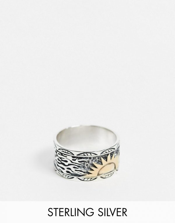 ASOS DESIGN sterling silver band ring with 14k gold plated sun design in burnished silver-Multi