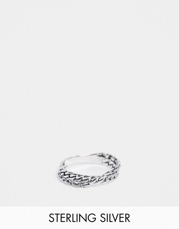 ASOS DESIGN sterling silver pinky ring with chain design in burnished silver