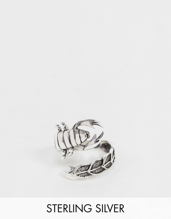 ASOS DESIGN sterling silver ring with wraparound scorpion in burnished silver