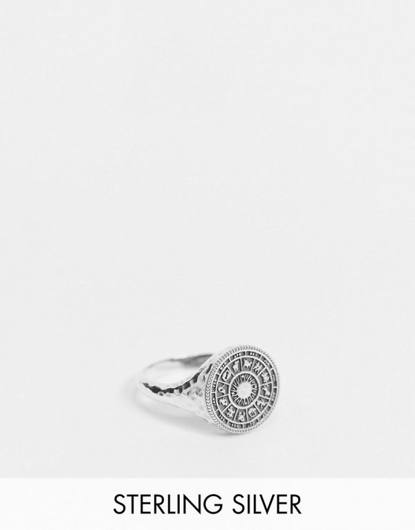 ASOS DESIGN sterling silver signet ring with star signs in burnished silver