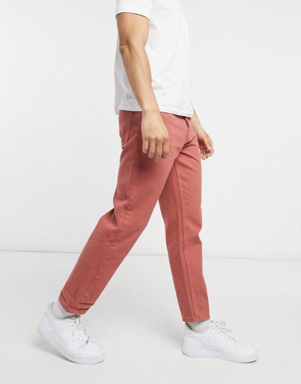 ASOS DESIGN straight crop jeans in dark peach-Red
