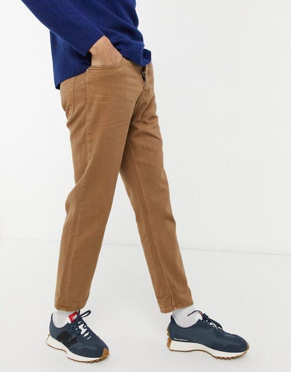 ASOS DESIGN straight crop jeans in dark stone