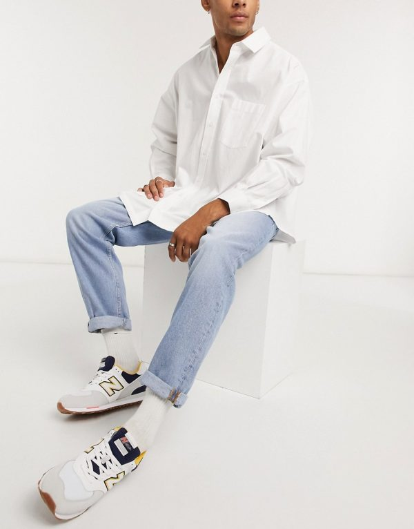 ASOS DESIGN straight crop jeans in vintage light wash blue-Blues