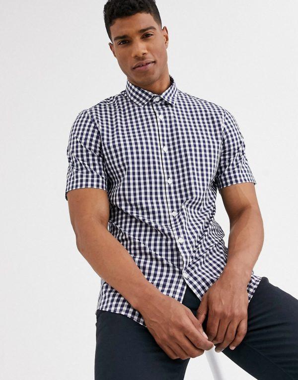 ASOS DESIGN stretch slim fit check work shirt in navy