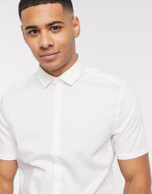 ASOS DESIGN stretch slim fit work shirt with in white