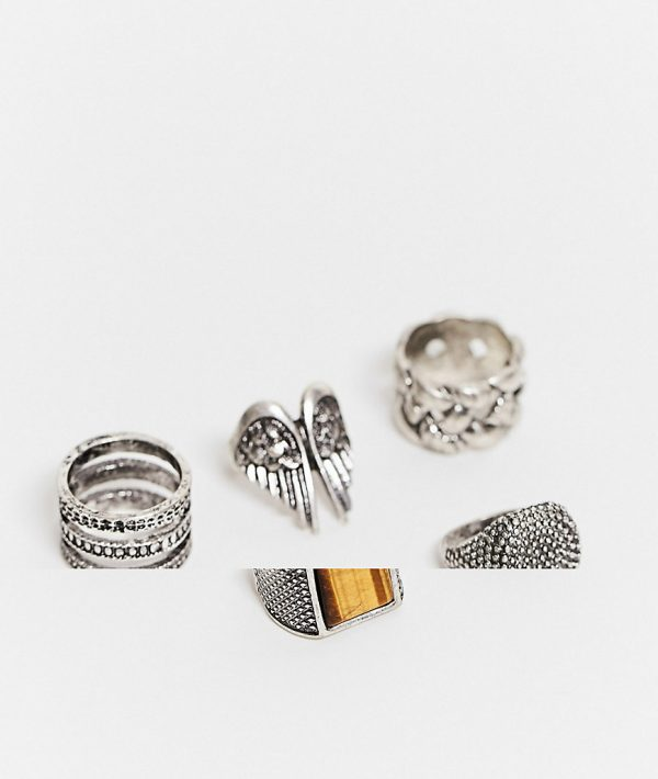 ASOS DESIGN super chunky ring pack with tigers eye stone in burnished silver tone