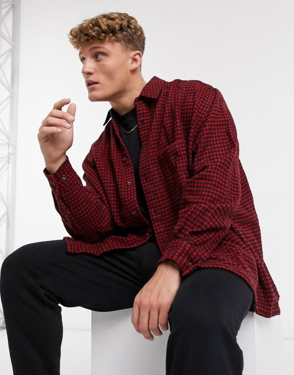 ASOS DESIGN super oversized wool rich check shirt in red and black dogstooth