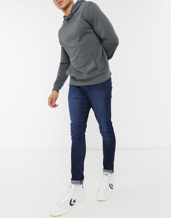 ASOS DESIGN super skinny ankle grazer jean in dark wash-Blues
