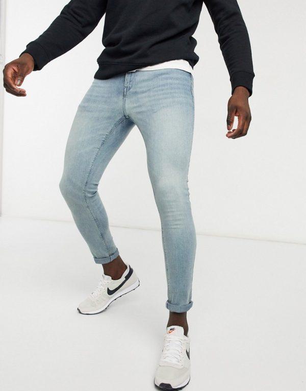 ASOS DESIGN super skinny ankle grazer jeans in light blue vintage tint