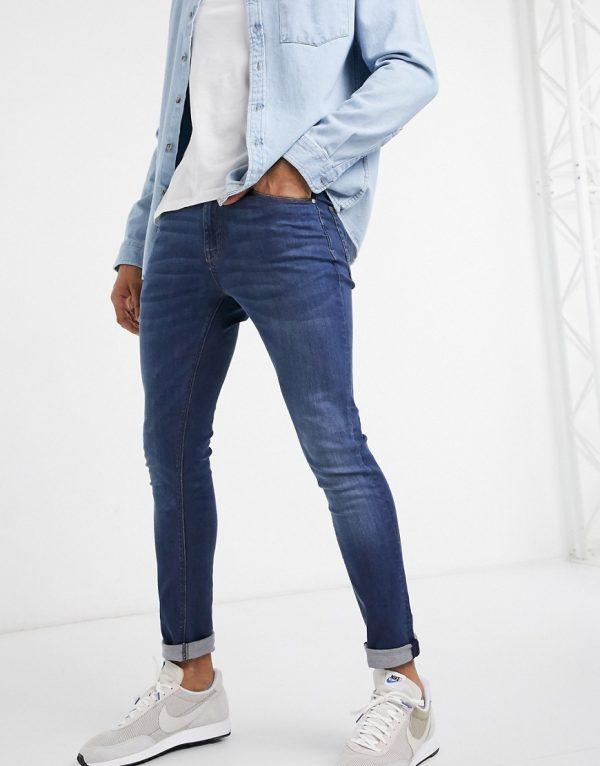ASOS DESIGN super skinny jeans in dark wash-Blue