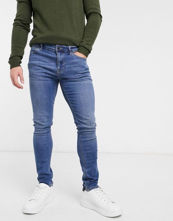 ASOS DESIGN super skinny jeans in mid wash-Blue
