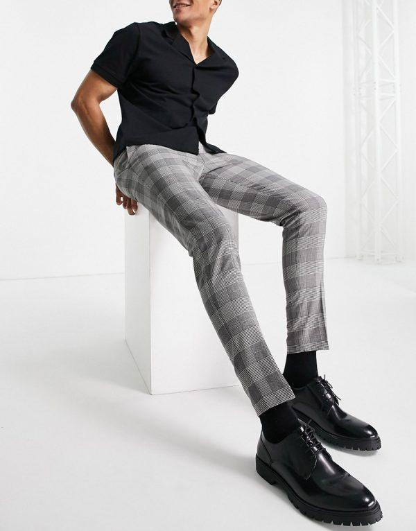 ASOS DESIGN super skinny smart pants in black prince of wales check