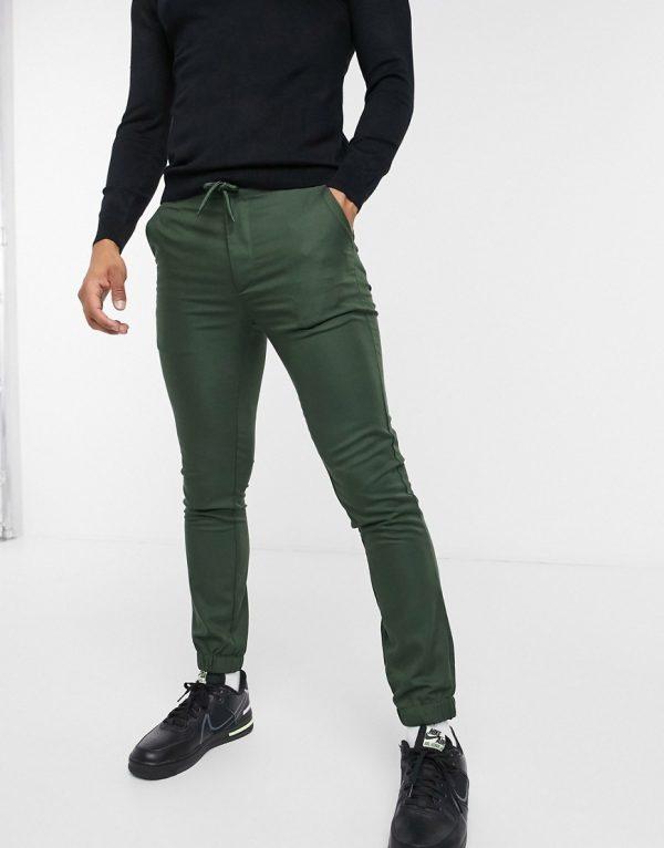 ASOS DESIGN super skinny smart sweatpants in green