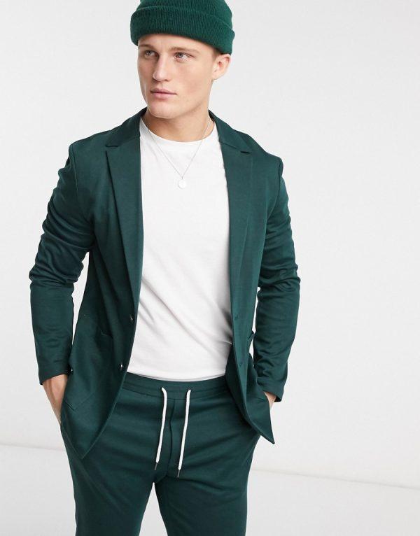 ASOS DESIGN super skinny soft tailored suit jacket in jersey in bottle green