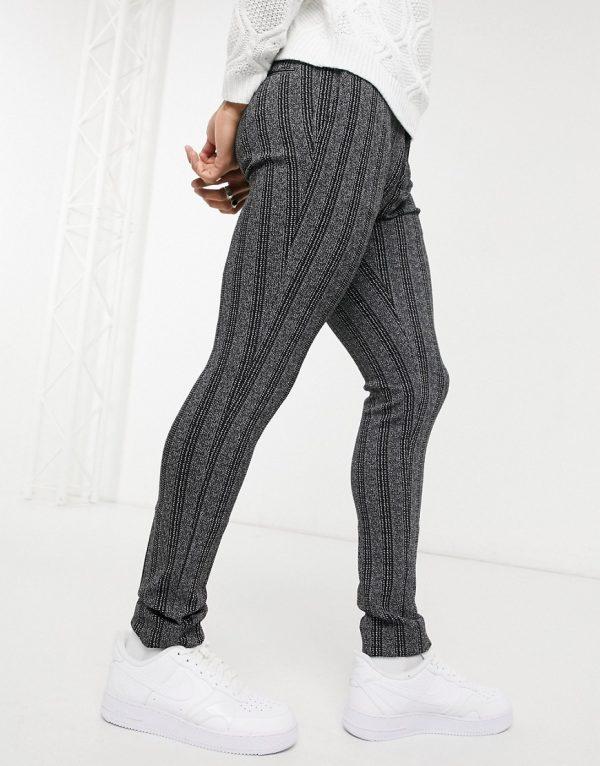 ASOS DESIGN super skinny stripe smart pant in monochrome-Black