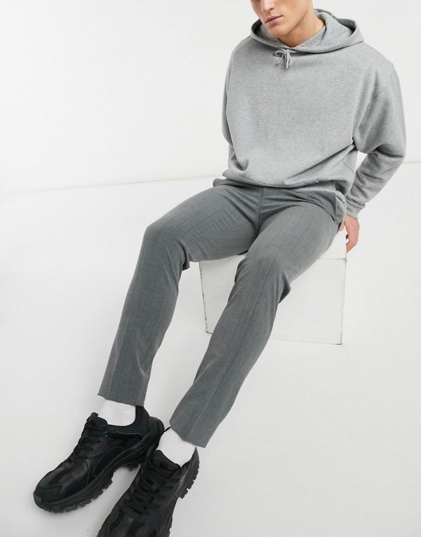 ASOS DESIGN super skinny striped smart pant-Grey