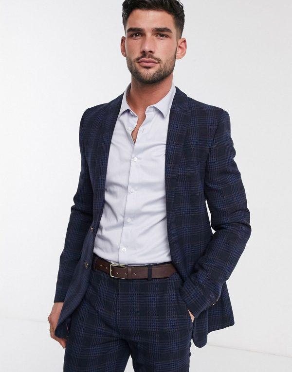 ASOS DESIGN super skinny suit jacket in birdseye check in navy