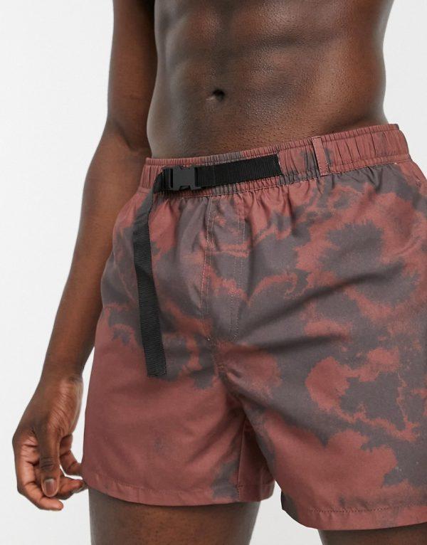 ASOS DESIGN swim shorts in brown print with webbed belt short length
