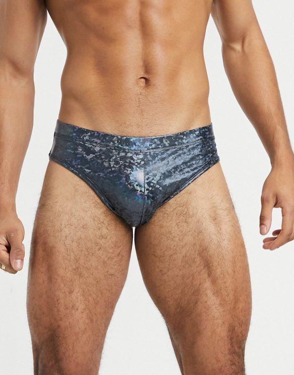 ASOS DESIGN swim shorts in metallic in short length-Blues