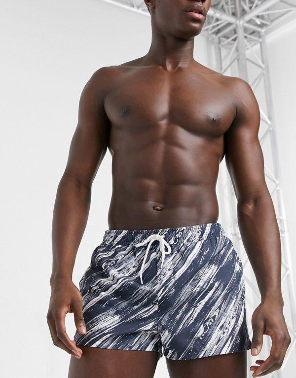 ASOS DESIGN swim shorts in monochrome diagonal stripe short length-Black