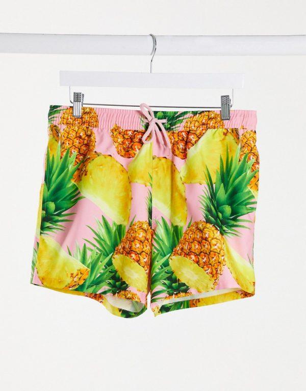ASOS DESIGN swim shorts with pineapple print in pink short length