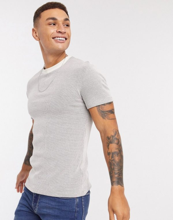 ASOS DESIGN t-shirt in waffle in gray