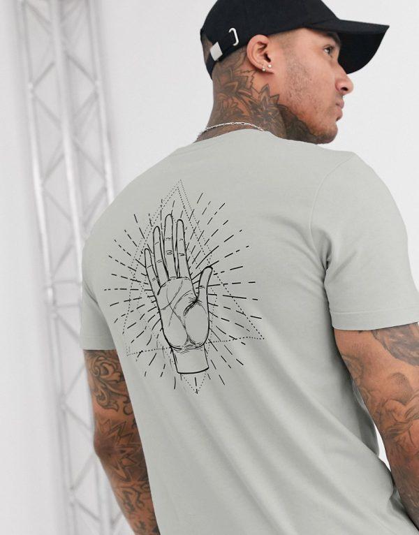 ASOS DESIGN t-shirt with palm print-Grey